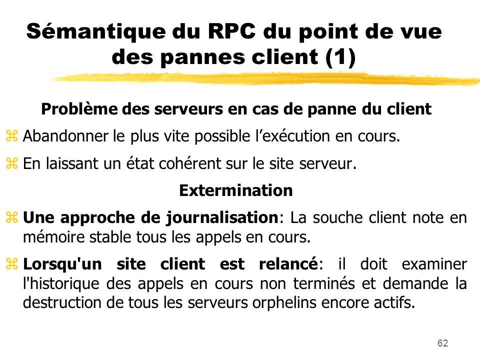 62 Sémantique du RPC du point de vue des pannes client (1) Problème des serveurs en cas de panne du client zAbandonner le plus vite possible lexécutio