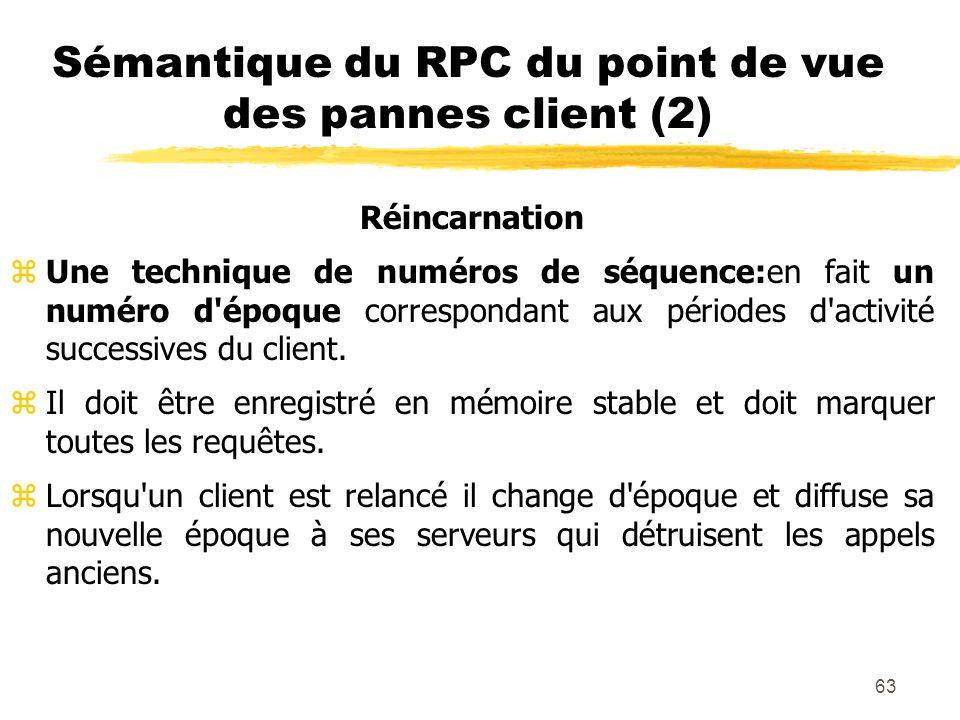 63 Sémantique du RPC du point de vue des pannes client (2) Réincarnation zUne technique de numéros de séquence:en fait un numéro d'époque correspondan