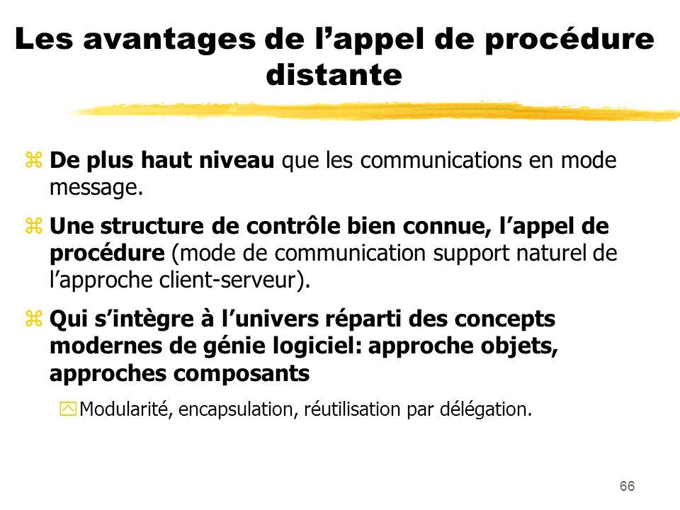 66 Les avantages de lappel de procédure distante zDe plus haut niveau que les communications en mode message. zUne structure de contrôle bien connue,