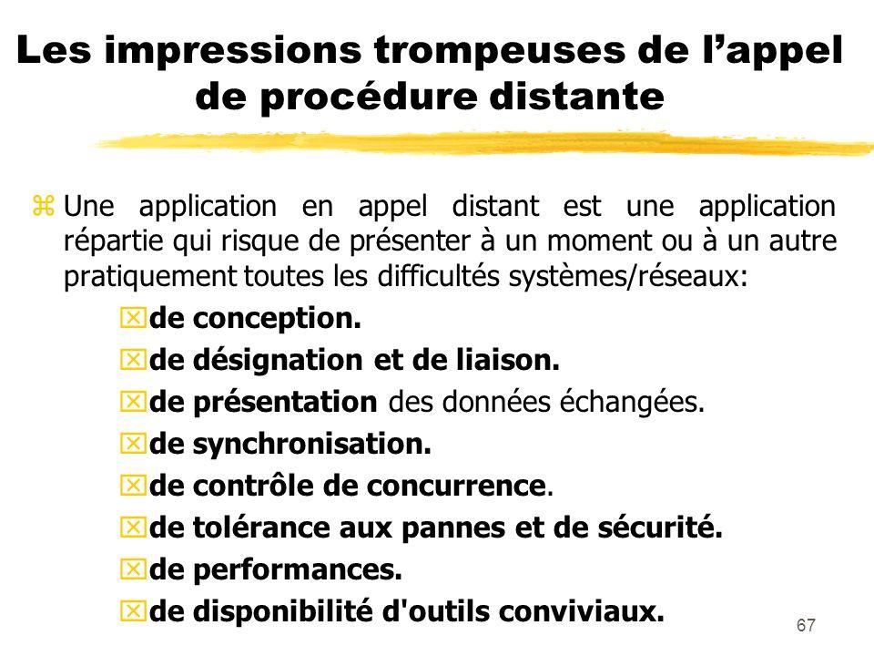 67 Les impressions trompeuses de lappel de procédure distante zUne application en appel distant est une application répartie qui risque de présenter à