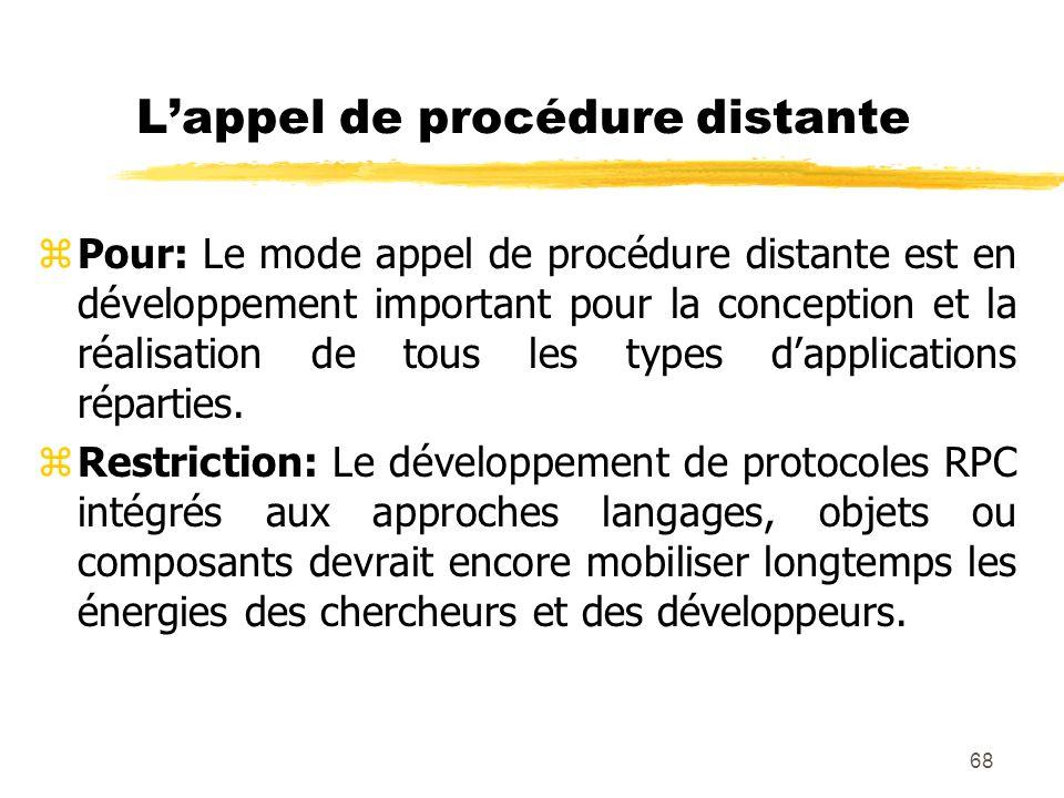 68 Lappel de procédure distante zPour: Le mode appel de procédure distante est en développement important pour la conception et la réalisation de tous