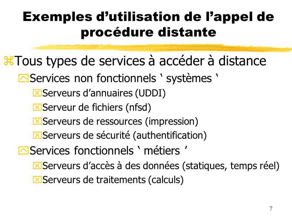 7 Exemples dutilisation de lappel de procédure distante zTous types de services à accéder à distance yServices non fonctionnels systèmes xServeurs dan
