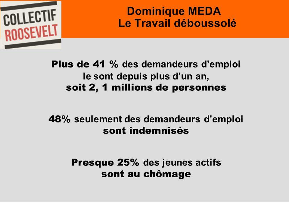 24 Dominique MEDA Le Travail déboussolé Plus de 41 % des demandeurs demploi le sont depuis plus dun an, soit 2, 1 millions de personnes 48% seulement des demandeurs demploi sont indemnisés Presque 25% des jeunes actifs sont au chômage
