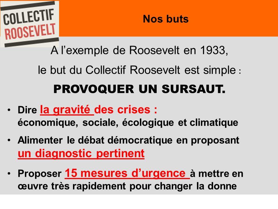 7 Nos buts A lexemple de Roosevelt en 1933, le but du Collectif Roosevelt est simple : PROVOQUER UN SURSAUT.