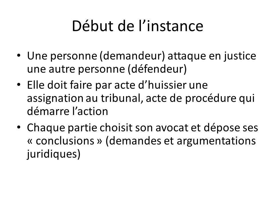 Début de linstance Une personne (demandeur) attaque en justice une autre personne (défendeur) Elle doit faire par acte dhuissier une assignation au tr