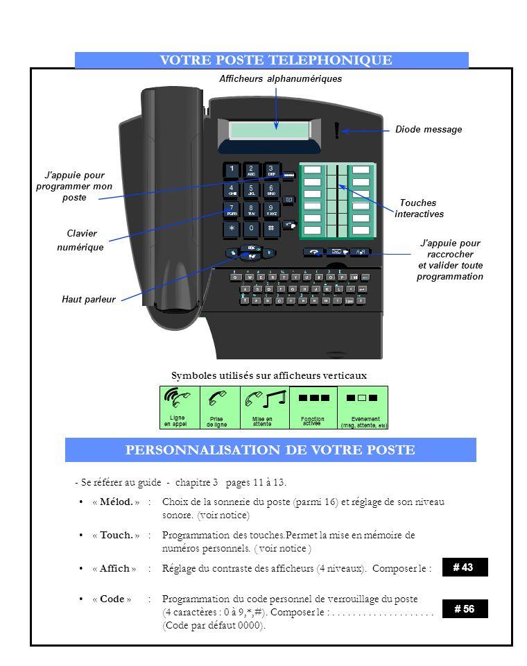 5 0 Appel d un numéro externe:- - - - - - - RENVOI D APPEL Appuyez sur la touche interactive concernée Émission d un numéro programmé en mémoire - - Appel d un numéro interne - - - - - - - - - - - - - - - - - - - - - - - - Rappel automatique dun correspondant interne occupé : composer, le - - - - - XXXXX + n° de votre correspondant APPEL D UN CORRESPONDANT COMPOSEZ VERROUILLAGE DU POSTE COMPOSEZ * # Renvoi immédiat inconditionnel - - - - - - - - - - - - - - - - - - - - - - - - - Pour annuler : Composer, le : - - - - - - - - - - - - - - - - - - - - - - - - - - - - - - - - - 1 Renvoi immédiat sur occupation - - - - - - - - - - - - - - - - - - - - - - - - - 1 1 1 # 56 Renvoi temporisé sur non réponse - - - - - - - - - - - - - - - - - - - - - - - - Renvoi temporisé sur non réponse /occupation - - - - - - - - - - - - - - ( Vous permet d interdire l accès vers l extérieur à partir de votre poste, et toute modification de la configuration de votre poste ) Validation du verrouillage : Composer, le : - - - - - - - - - - - - - - - - - - - - - - - - - - - - - - - - - - Annulation de tous les renvois - - - - - - - - - - - - - - - - - - - - - - - - - - - + n° du poste 0 # 20 # 30 + n° du poste # 22 # 31 # 21 # 56 + code personnel ( Rappel le code personnel par défaut est 0000 ) RENVOI D APPEL COMPOSEZ X