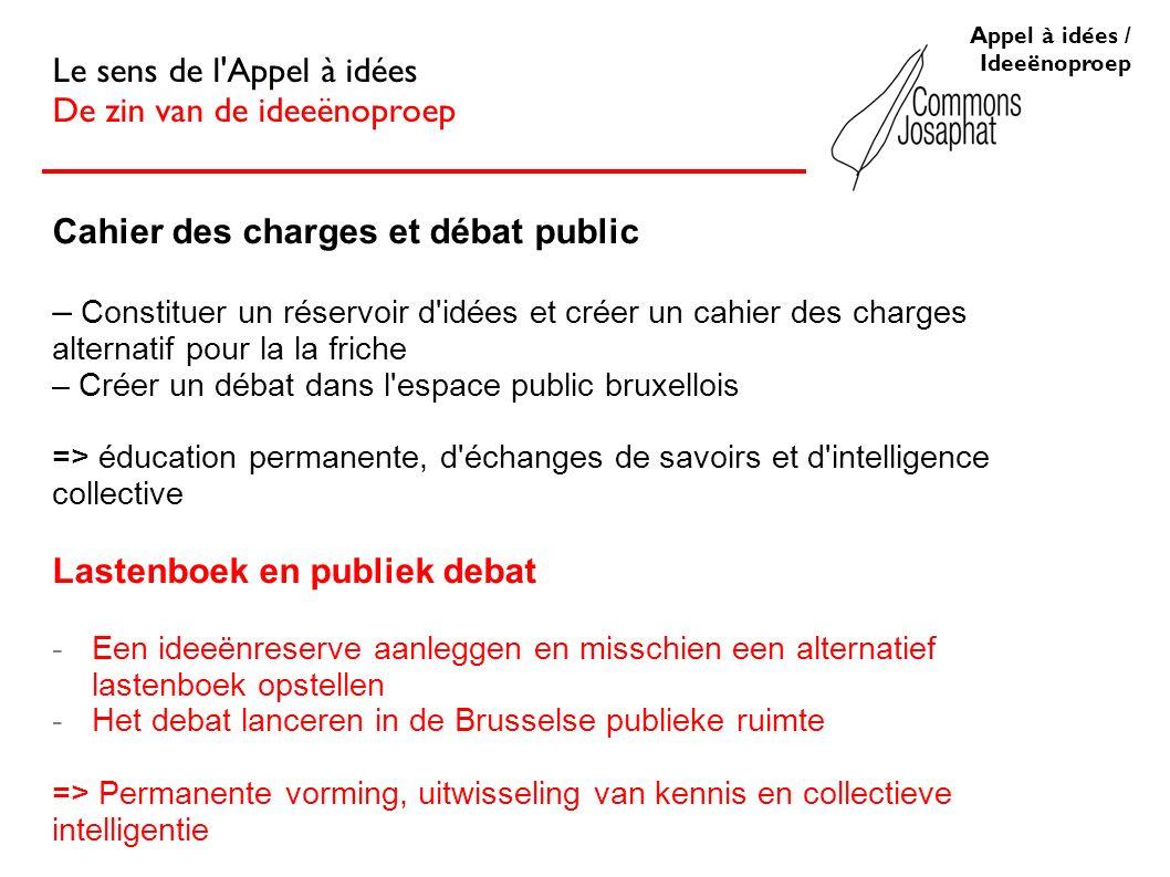 Cahier des charges et débat public – Constituer un réservoir d'idées et créer un cahier des charges alternatif pour la la friche – Créer un débat dans