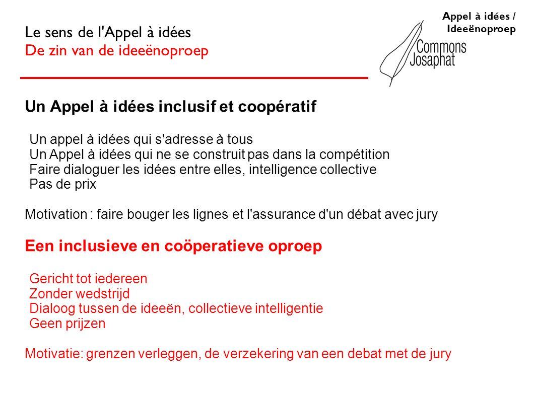 Appel à idées / Ideeënoproep Le sens de l'Appel à idées De zin van de ideeënoproep Un Appel à idées inclusif et coopératif Un appel à idées qui s'adre