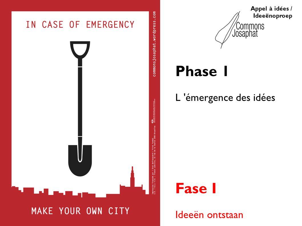 Appel à idées / Ideeënoproep Phase 1 L émergence des idées Fase I Ideeën ontstaan