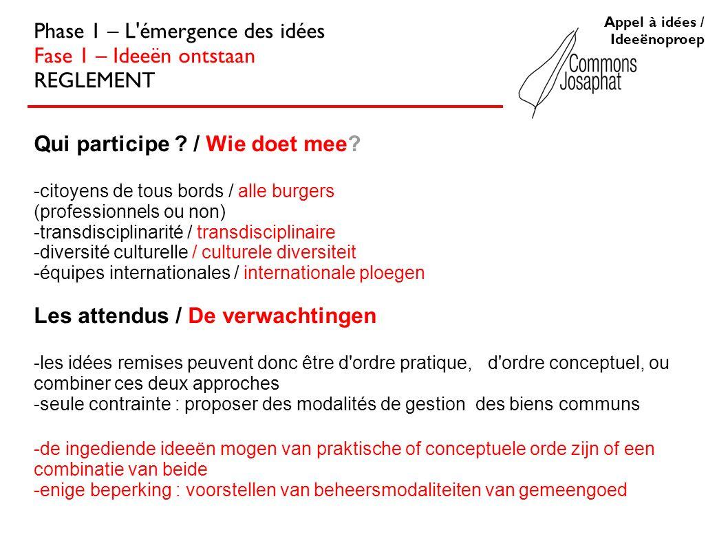 Appel à idées / Ideeënoproep Phase 1 – L émergence des idées Fase 1 – Ideeën ontstaan REGLEMENT Qui participe .