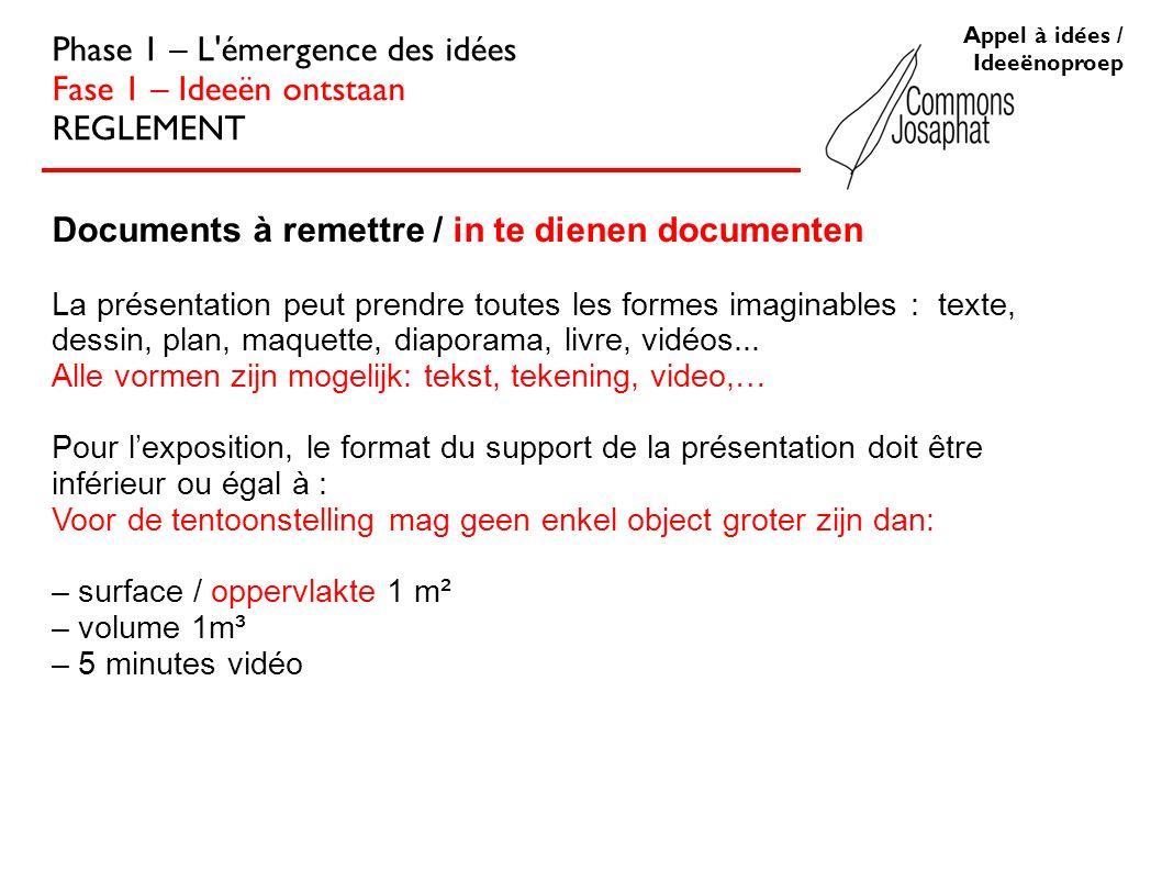 Appel à idées / Ideeënoproep Phase 1 – L'émergence des idées Fase 1 – Ideeën ontstaan REGLEMENT Documents à remettre / in te dienen documenten La prés