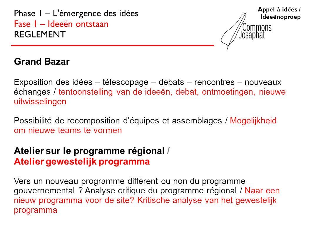 Appel à idées / Ideeënoproep Phase 1 – L'émergence des idées Fase 1 – Ideeën ontstaan REGLEMENT Grand Bazar Exposition des idées – télescopage – débat