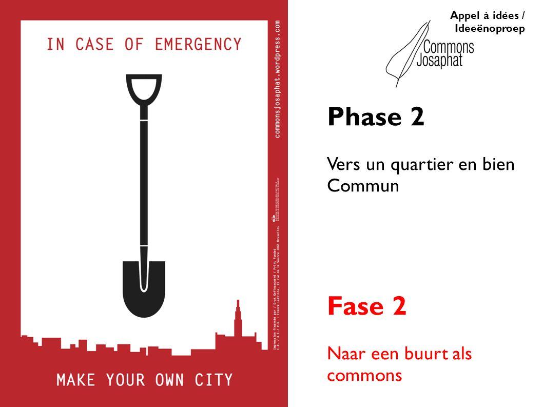 Appel à idées / Ideeënoproep Phase 2 Vers un quartier en bien Commun Fase 2 Naar een buurt als commons