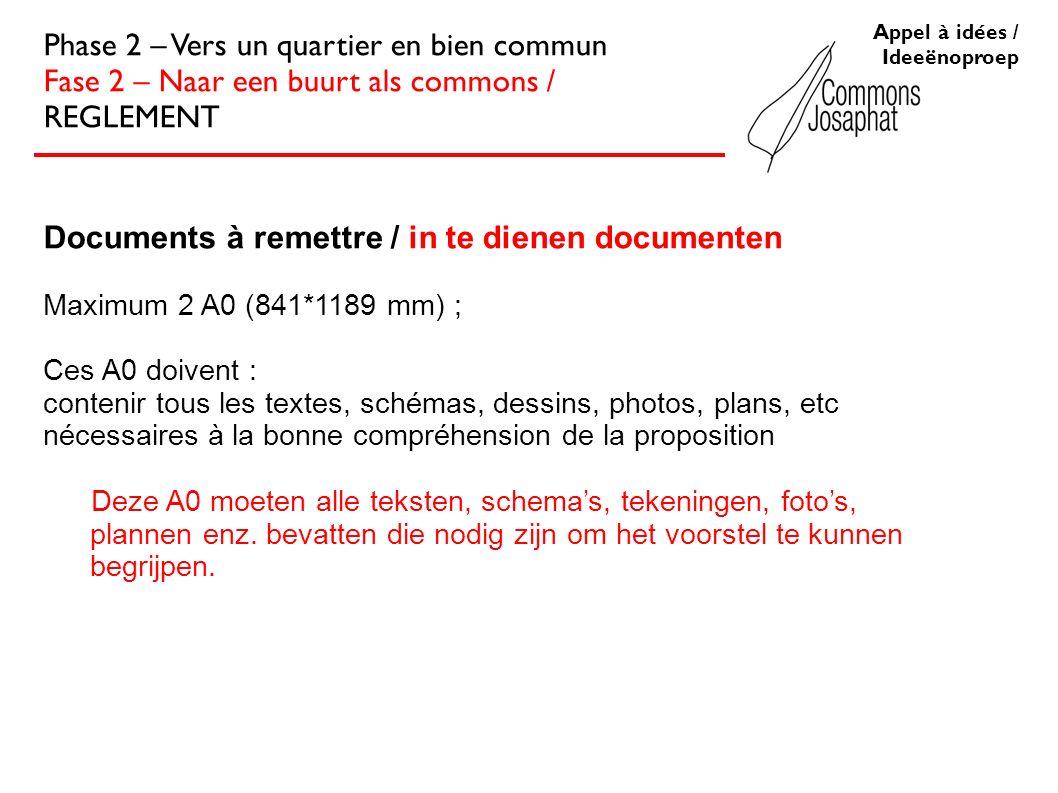 Documents à remettre / in te dienen documenten Maximum 2 A0 (841*1189 mm) ; Ces A0 doivent : contenir tous les textes, schémas, dessins, photos, plans