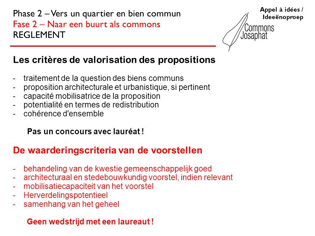 Les critères de valorisation des propositions -traitement de la question des biens communs -proposition architecturale et urbanistique, si pertinent -