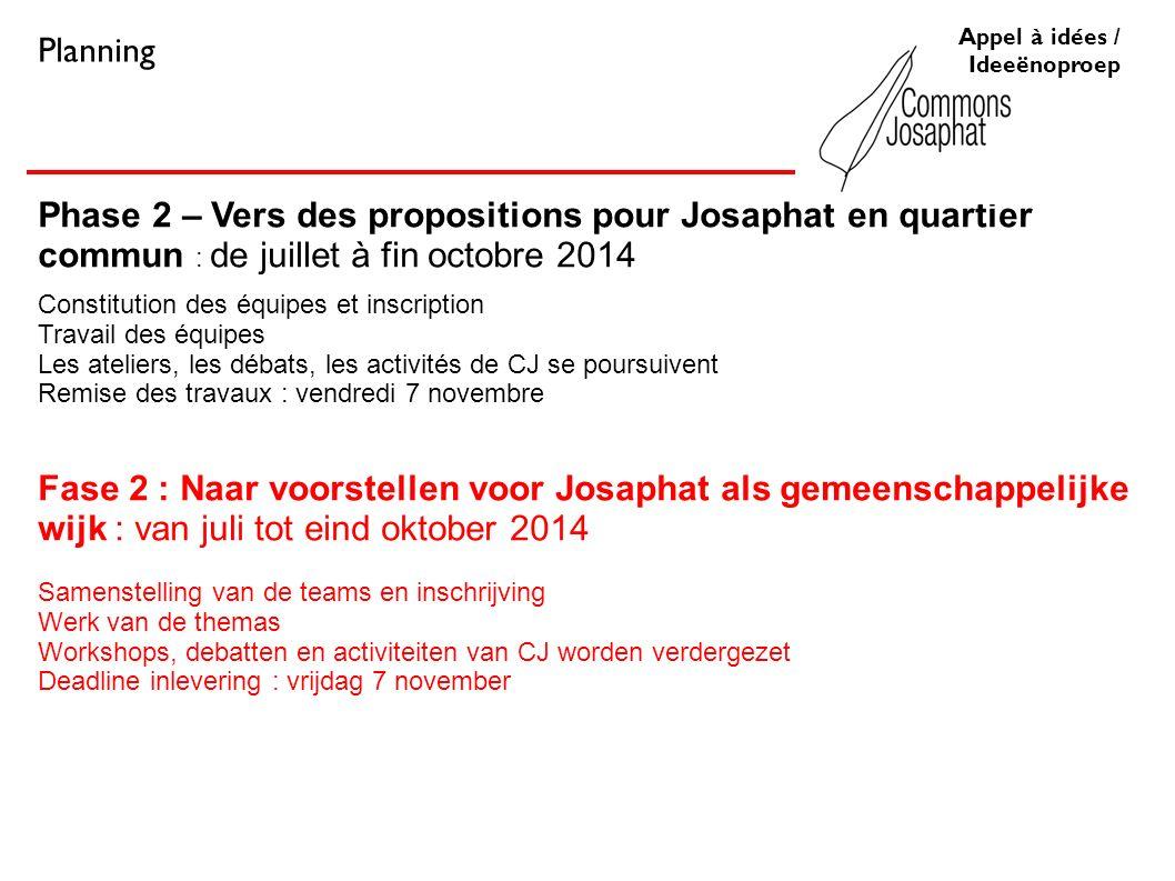 Phase 2 – Vers des propositions pour Josaphat en quartier commun : de juillet à fin octobre 2014 Constitution des équipes et inscription Travail des