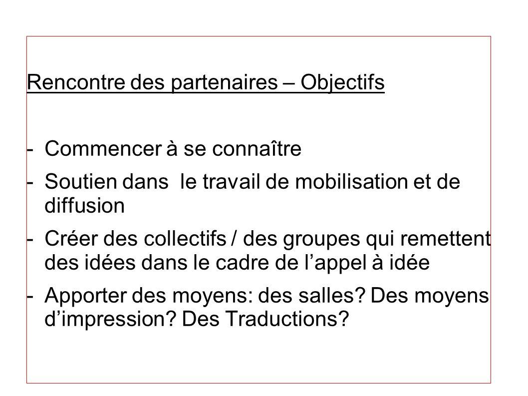 Rencontre des partenaires – Objectifs -Commencer à se connaître -Soutien dans le travail de mobilisation et de diffusion -Créer des collectifs / des g
