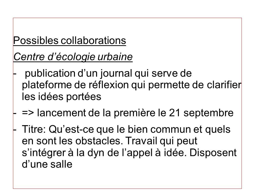 Possibles collaborations Centre décologie urbaine - publication dun journal qui serve de plateforme de réflexion qui permette de clarifier les idées p
