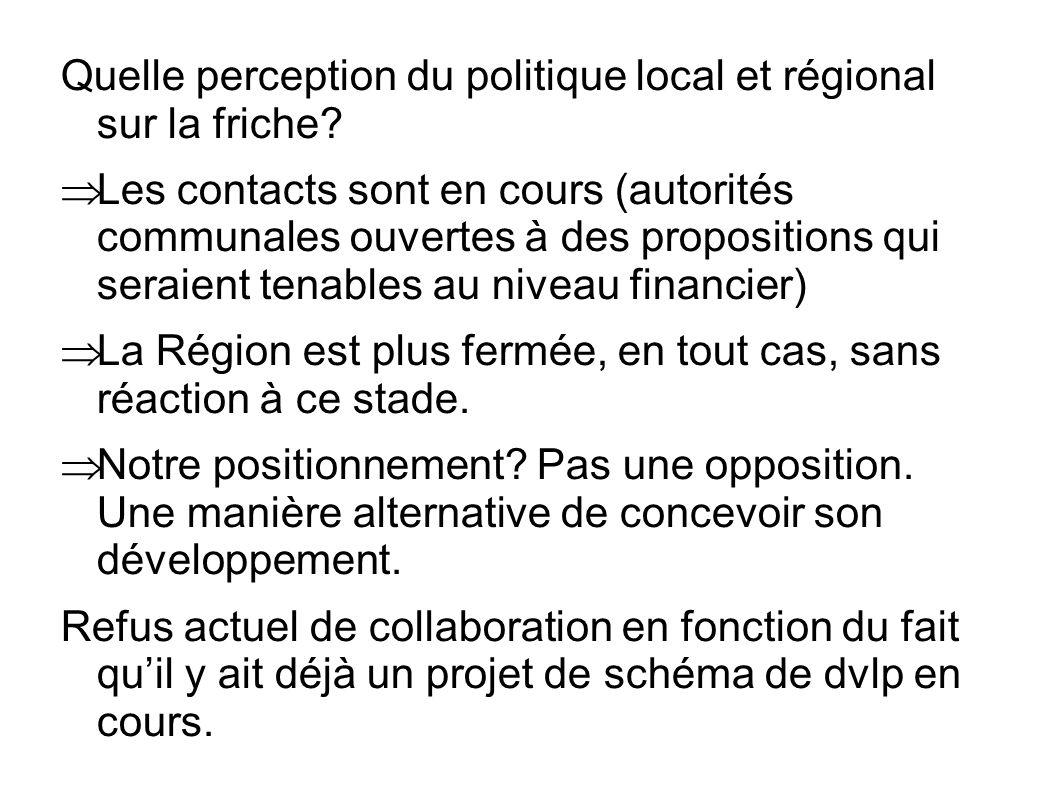 Quelle perception du politique local et régional sur la friche? Les contacts sont en cours (autorités communales ouvertes à des propositions qui serai