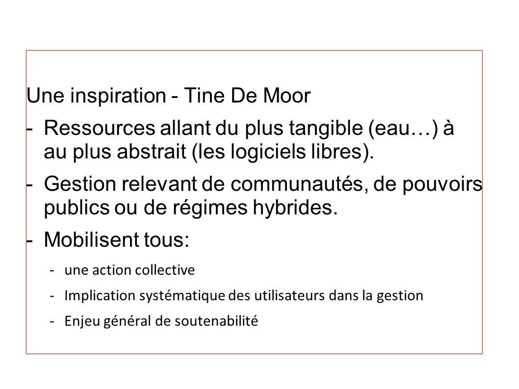 Une inspiration - Tine De Moor -Ressources allant du plus tangible (eau…) à au plus abstrait (les logiciels libres). -Gestion relevant de communautés,