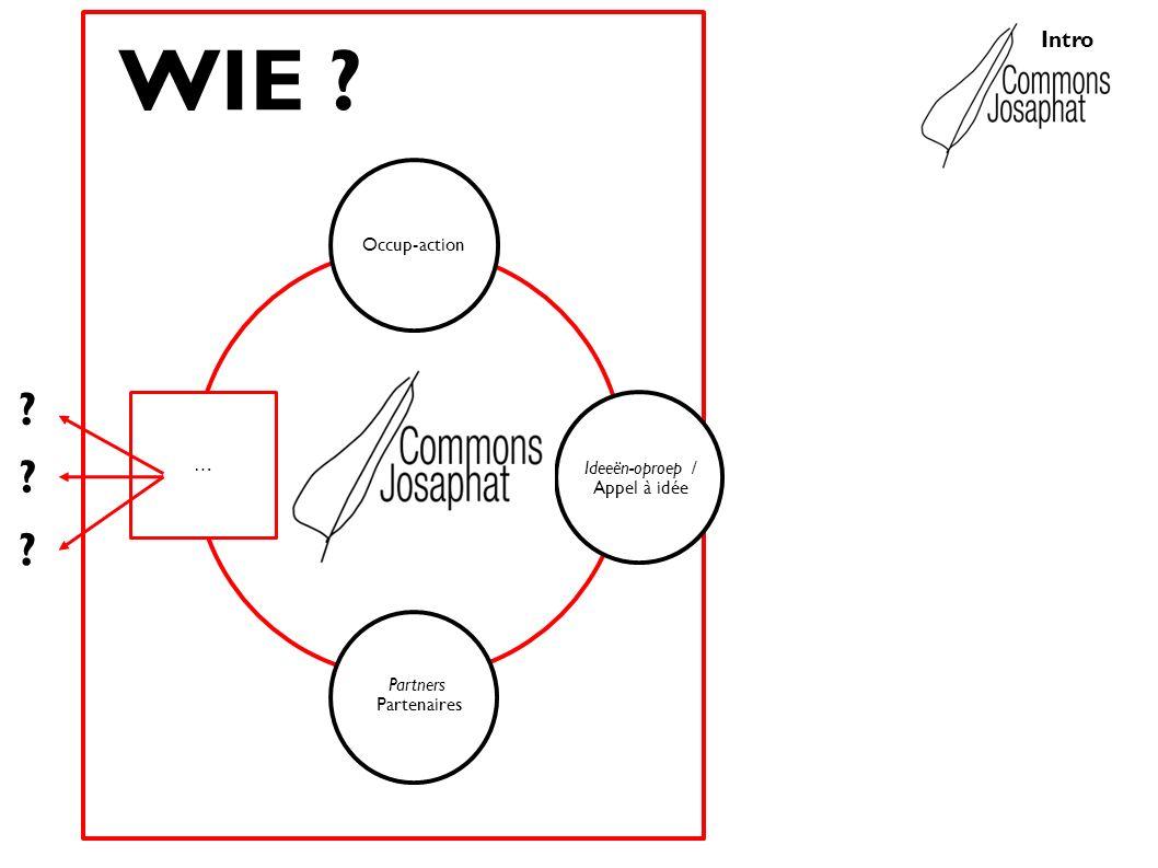 Intro Ideeën-oproep / Appel à idée Occup-action Partners Partenaires … ? WIE ? ? ?