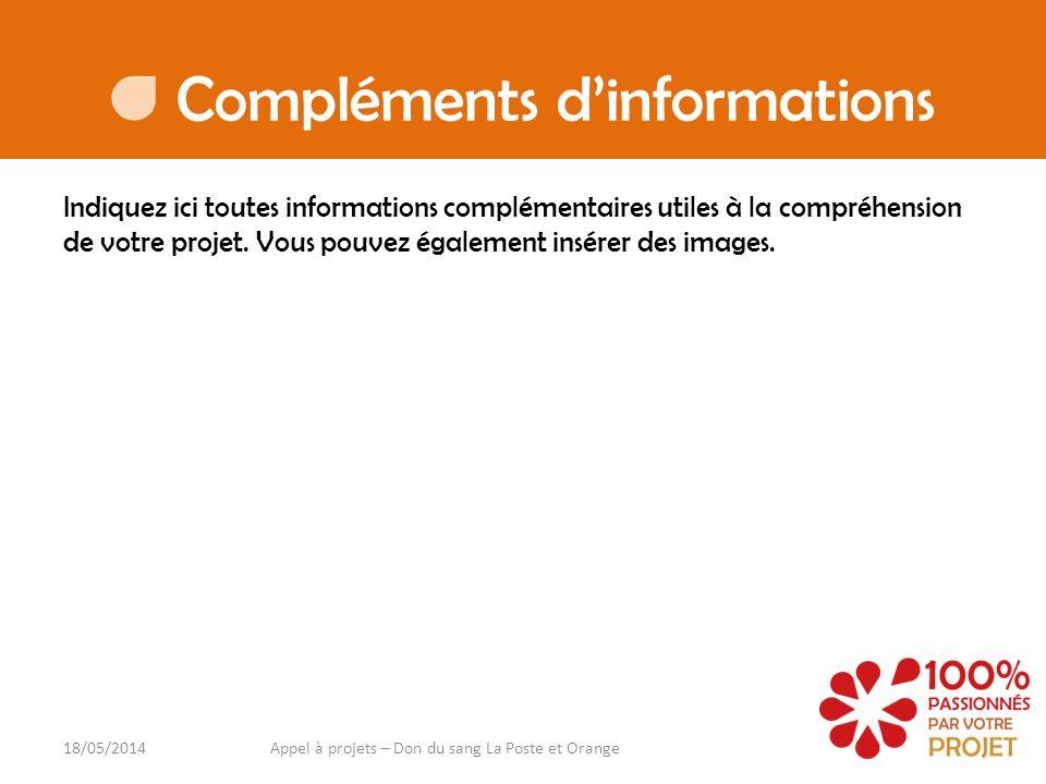 Compléments dinformations Indiquez ici toutes informations complémentaires utiles à la compréhension de votre projet. Vous pouvez également insérer de
