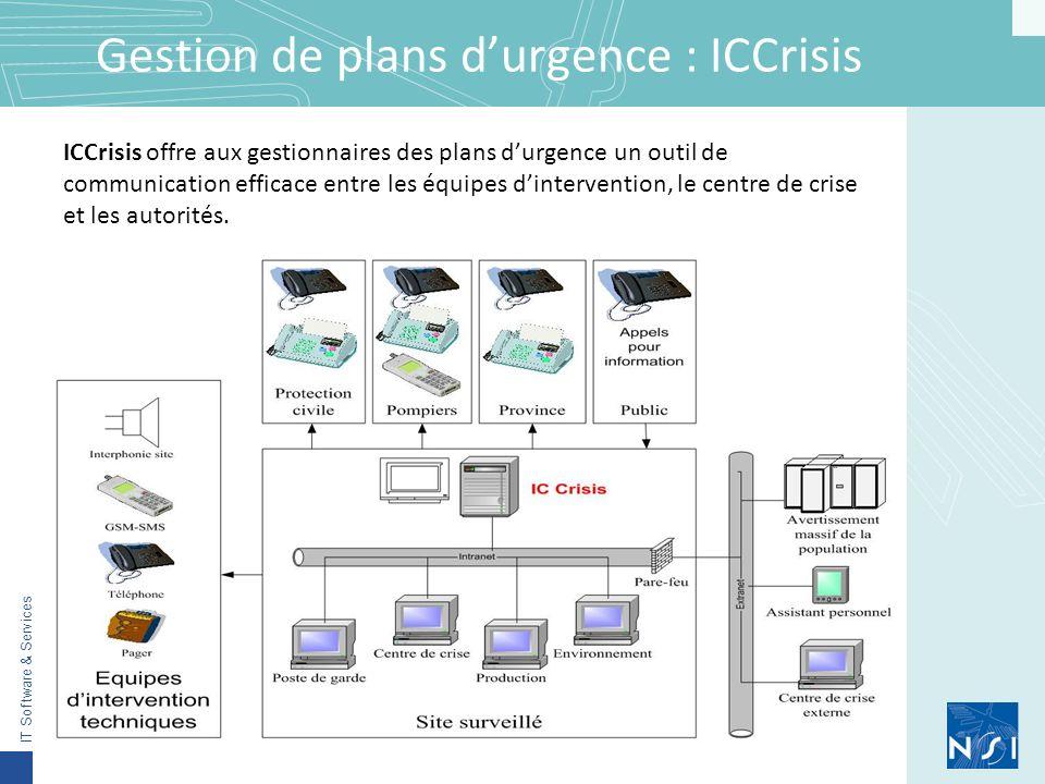 IT Software & Services Gestion de plans durgence : ICCrisis ICCrisis offre aux gestionnaires des plans durgence un outil de communication efficace entre les équipes dintervention, le centre de crise et les autorités.