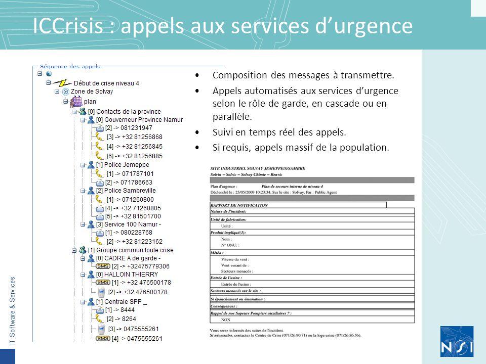IT Software & Services ICCrisis : appels aux services durgence Composition des messages à transmettre.
