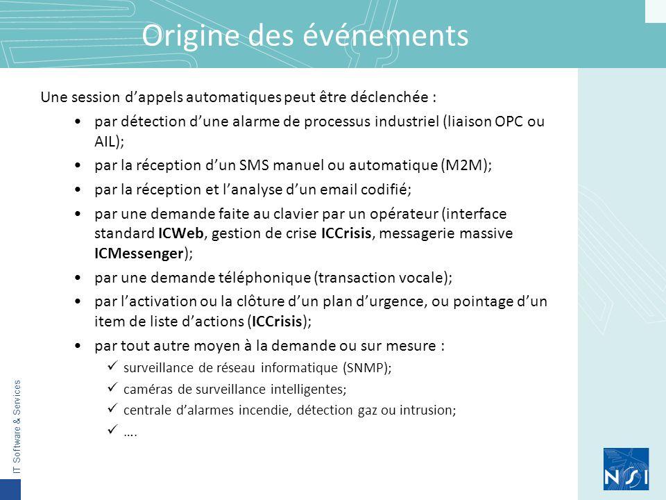 IT Software & Services Origine des événements Une session dappels automatiques peut être déclenchée : par détection dune alarme de processus industriel (liaison OPC ou AIL); par la réception dun SMS manuel ou automatique (M2M); par la réception et lanalyse dun email codifié; par une demande faite au clavier par un opérateur (interface standard ICWeb, gestion de crise ICCrisis, messagerie massive ICMessenger); par une demande téléphonique (transaction vocale); par lactivation ou la clôture dun plan durgence, ou pointage dun item de liste dactions (ICCrisis); par tout autre moyen à la demande ou sur mesure : surveillance de réseau informatique (SNMP); caméras de surveillance intelligentes; centrale dalarmes incendie, détection gaz ou intrusion; ….