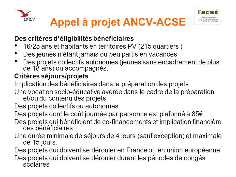 Appel à projet ANCV-ACSE Des critères déligibilités bénéficiaires 16/25 ans et habitants en territoires PV (215 quartiers ) Des jeunes nétant jamais o