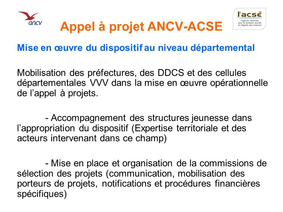 Appel à projet ANCV-ACSE Les documents opérationnels : Appel à projet Dossier projet Dossier bilan Procès verbaux (relevés de décisions des commissions) Lettre de notification