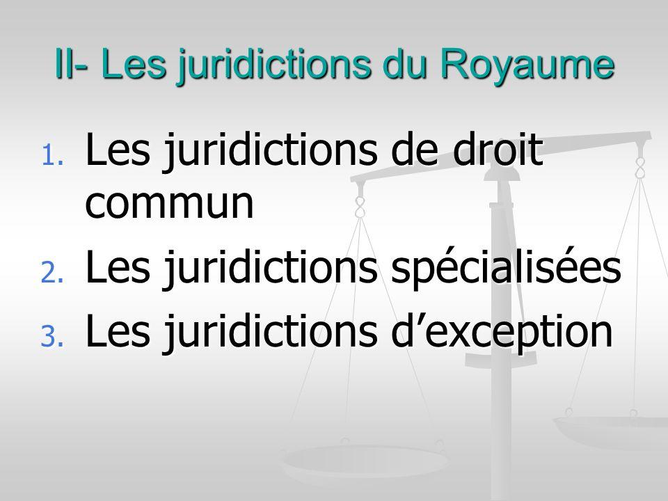 II- Les juridictions du Royaume 1. Les juridictions de droit commun 2. Les juridictions spécialisées 3. Les juridictions dexception