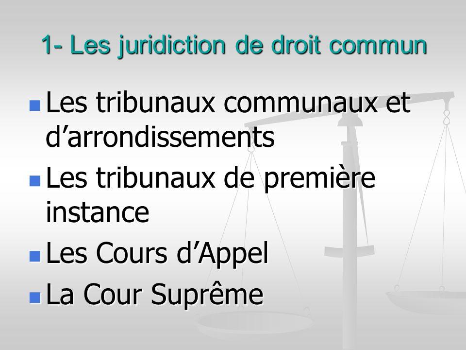 1- Les juridiction de droit commun Les tribunaux communaux et darrondissements Les tribunaux communaux et darrondissements Les tribunaux de première i