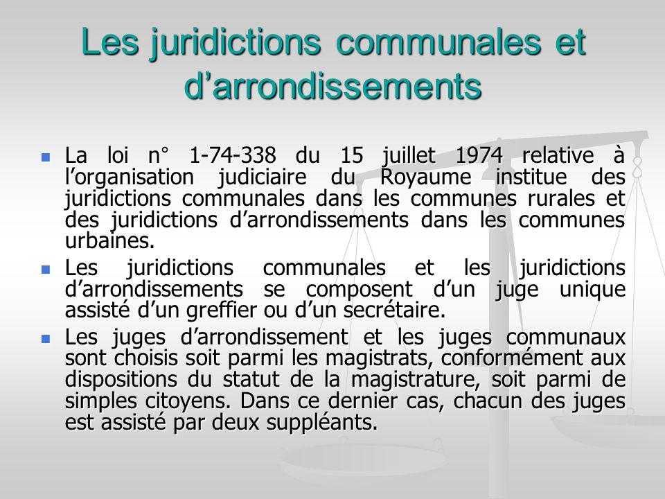 Les juridictions communales et darrondissements La loi n° 1-74-338 du 15 juillet 1974 relative à lorganisation judiciaire du Royaume institue des juri