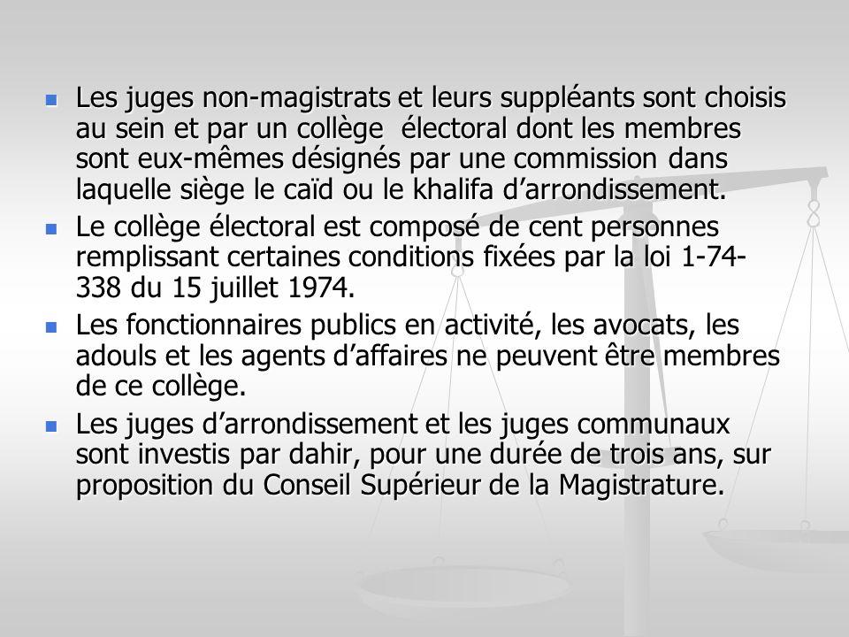 Les juges non-magistrats et leurs suppléants sont choisis au sein et par un collège électoral dont les membres sont eux-mêmes désignés par une commiss