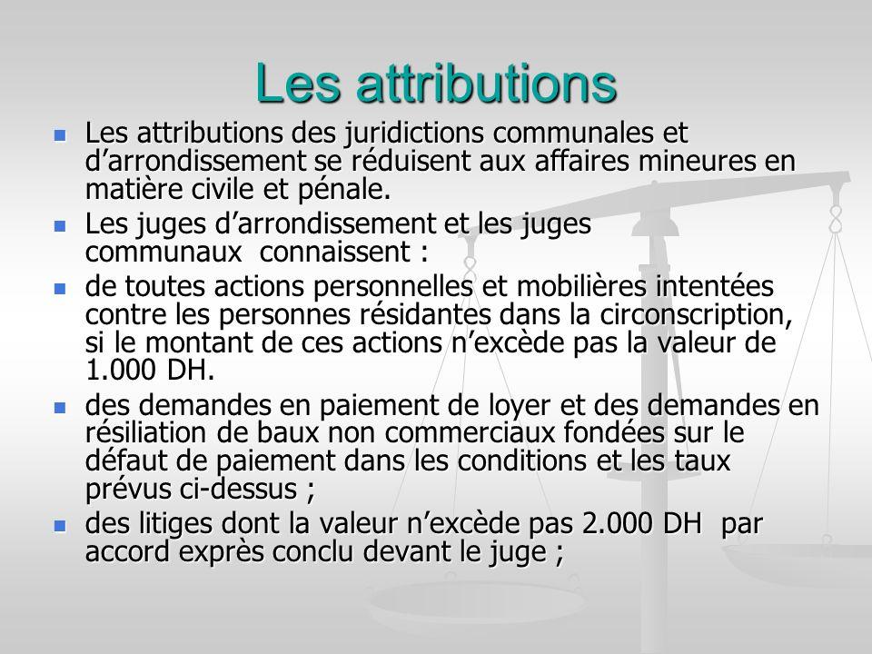 Les attributions Les attributions des juridictions communales et darrondissement se réduisent aux affaires mineures en matière civile et pénale. Les a