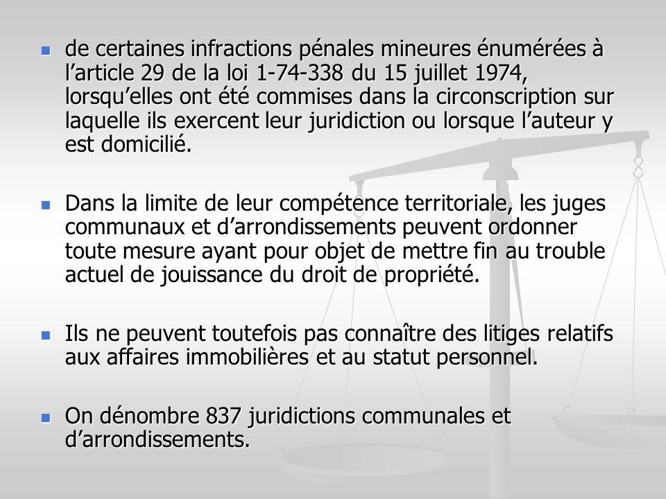 de certaines infractions pénales mineures énumérées à larticle 29 de la loi 1-74-338 du 15 juillet 1974, lorsquelles ont été commises dans la circonsc