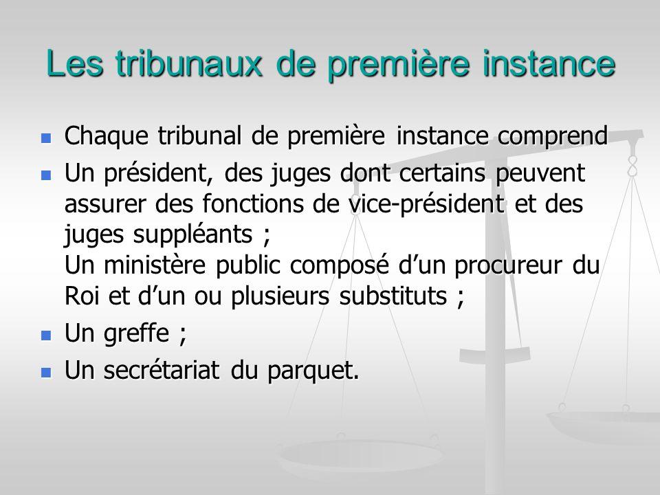 Les tribunaux de première instance Chaque tribunal de première instance comprend Chaque tribunal de première instance comprend Un président, des juges