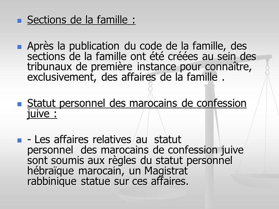 Sections de la famille : Sections de la famille : Après la publication du code de la famille, des sections de la famille ont été créées au sein des tr