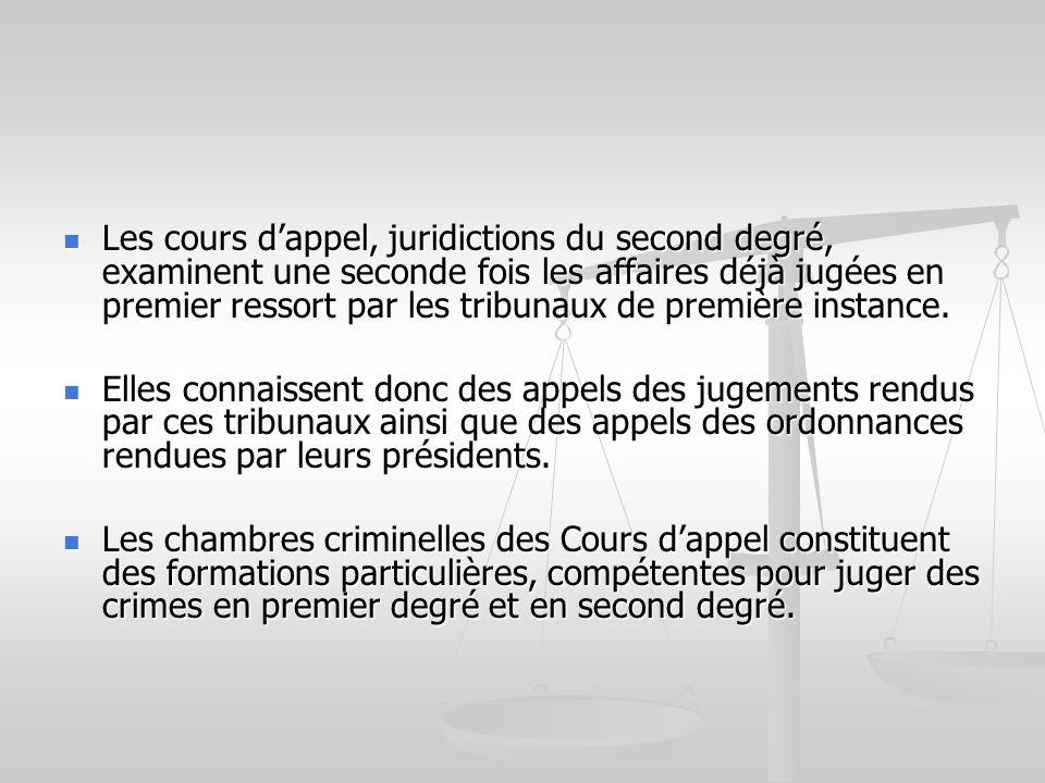 Les cours dappel, juridictions du second degré, examinent une seconde fois les affaires déjà jugées en premier ressort par les tribunaux de première i