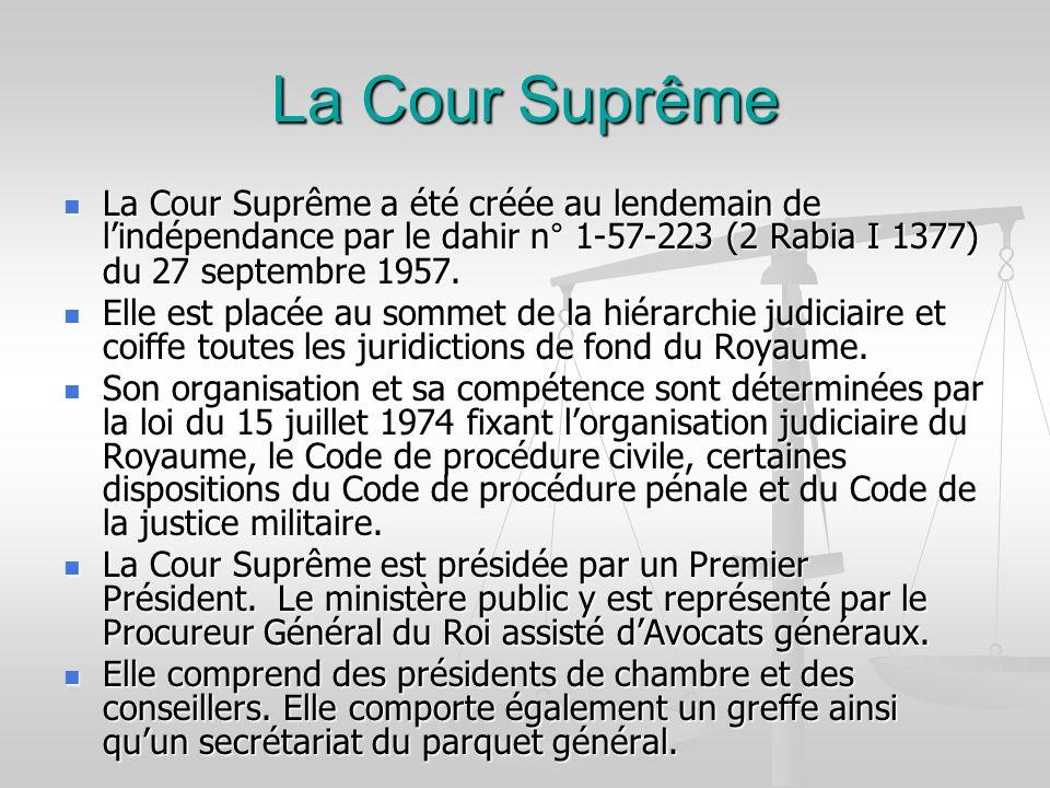 La Cour Suprême La Cour Suprême a été créée au lendemain de lindépendance par le dahir n° 1-57-223 (2 Rabia I 1377) du 27 septembre 1957. La Cour Supr