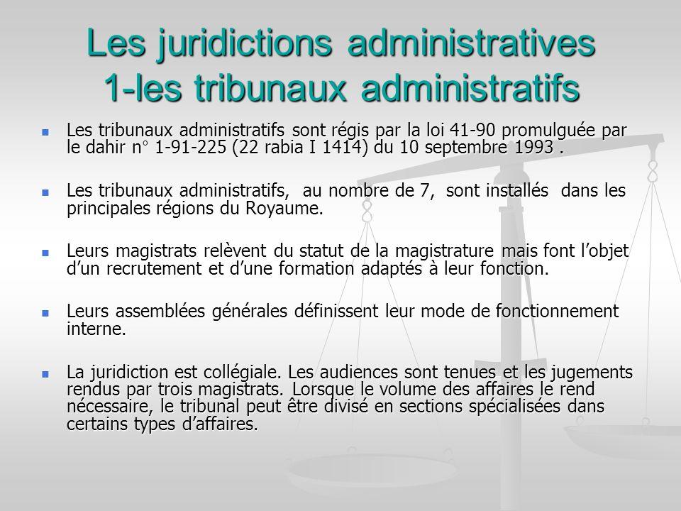 Les juridictions administratives 1-les tribunaux administratifs Les tribunaux administratifs sont régis par la loi 41-90 promulguée par le dahir n° 1-