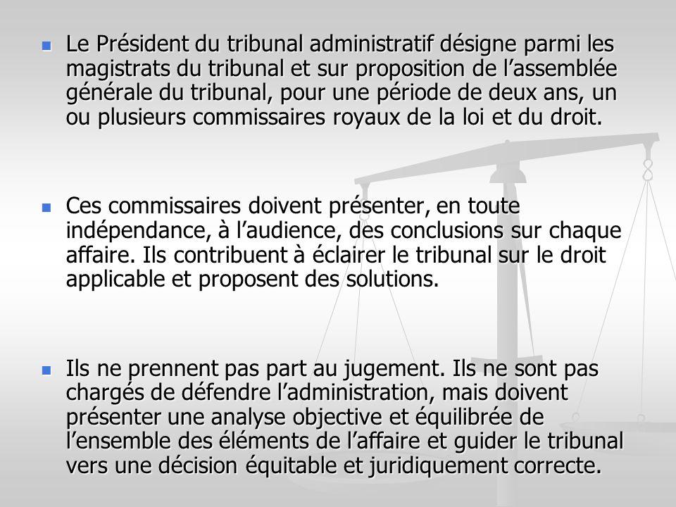 Le Président du tribunal administratif désigne parmi les magistrats du tribunal et sur proposition de lassemblée générale du tribunal, pour une périod
