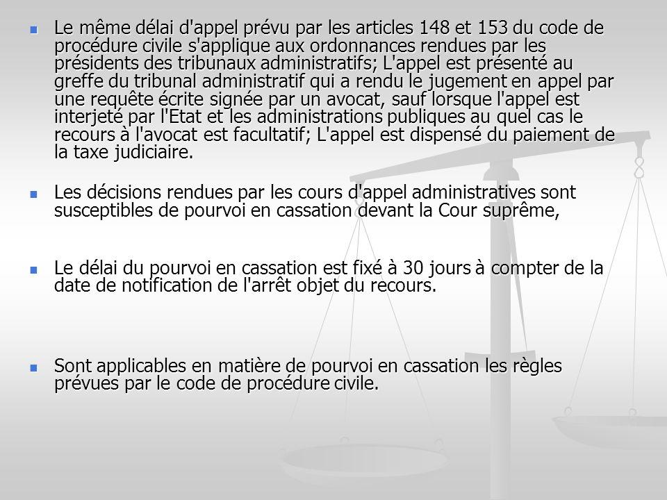 Le même délai d'appel prévu par les articles 148 et 153 du code de procédure civile s'applique aux ordonnances rendues par les présidents des tribunau