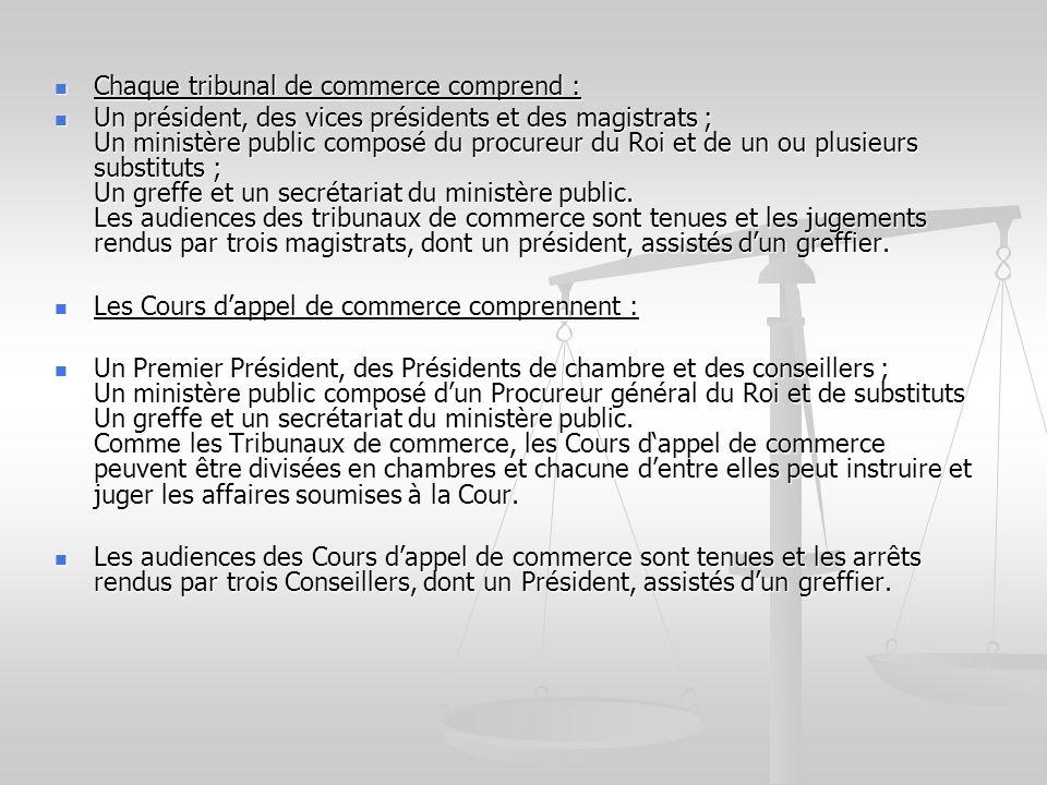Chaque tribunal de commerce comprend : Chaque tribunal de commerce comprend : Un président, des vices présidents et des magistrats ; Un ministère publ