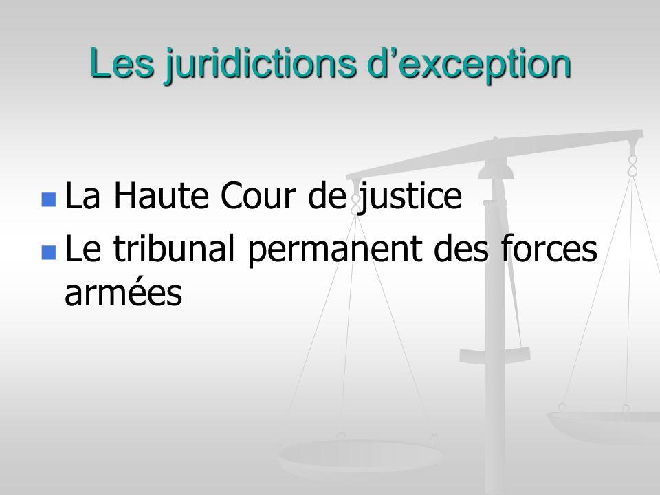 Les juridictions dexception La Haute Cour de justice La Haute Cour de justice Le tribunal permanent des forces armées Le tribunal permanent des forces