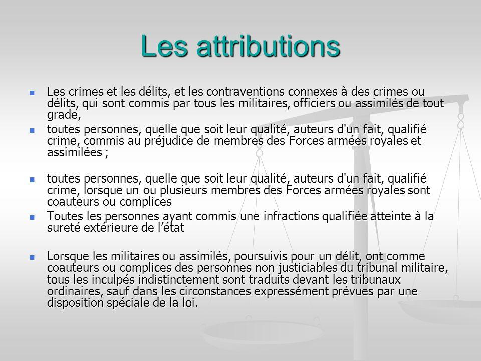 Les attributions Les crimes et les délits, et les contraventions connexes à des crimes ou délits, qui sont commis par tous les militaires, officiers o