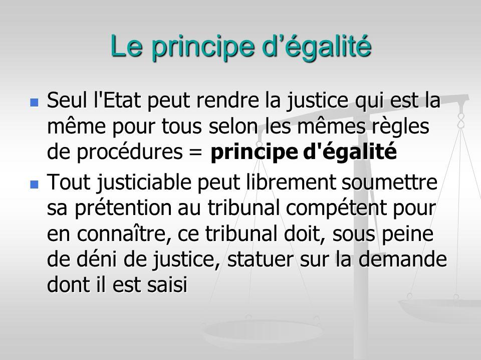 Le principe dégalité Seul l'Etat peut rendre la justice qui est la même pour tous selon les mêmes règles de procédures = principe d'égalité Seul l'Eta