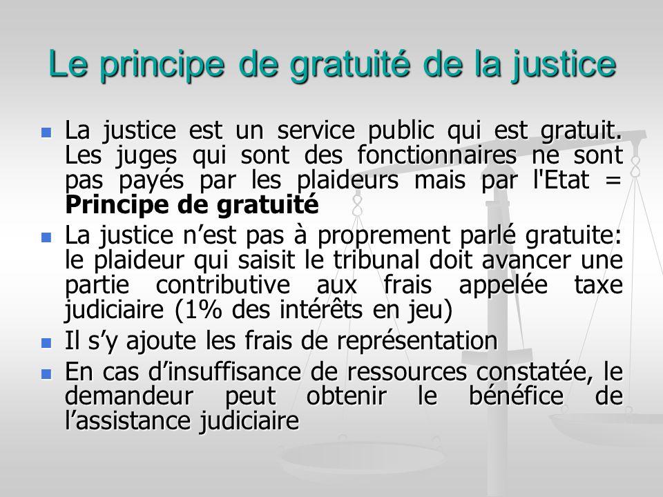 Le principe de gratuité de la justice La justice est un service public qui est gratuit. Les juges qui sont des fonctionnaires ne sont pas payés par le