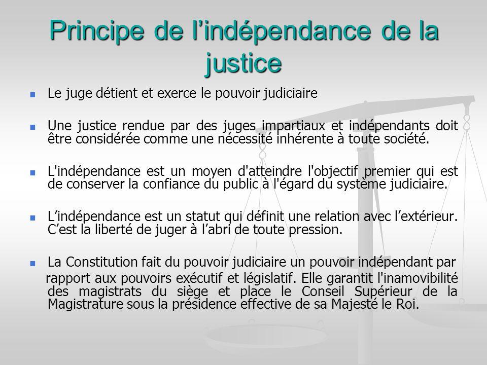Principe de lindépendance de la justice Le juge détient et exerce le pouvoir judiciaire Le juge détient et exerce le pouvoir judiciaire Une justice re